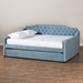 Baxton Studio Freda Transitional and Contemporary Light Blue Velvet Fabric Upholstered and Button Tufted Full Size Daybed with Trundle - IEFreda-Light Blue Velvet-Daybed-F/T