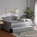 Baxton Studio Freda Transitional and Contemporary Grey Velvet Fabric Upholstered and Button Tufted Queen Size Daybed with Trundle - IEFreda-Grey Velvet-Daybed-Q/T