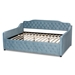 Baxton Studio Freda Transitional and Contemporary Light Blue Velvet Fabric Upholstered and Button Tufted Full Size Daybed - IEFreda-Light Blue Velvet-Daybed-Full