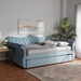 Baxton Studio Abbie Traditional and Transitional Light Blue Velvet Fabric Upholstered and Crystal Tufted Queen Size Daybed with Trundle - IEAbbie-Light Blue Velvet-Daybed-Q/T