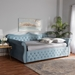 Baxton Studio Abbie Traditional and Transitional Light Blue Velvet Fabric Upholstered and Crystal Tufted Queen Size Daybed - IEAbbie-Light Blue Velvet-Daybed-Queen