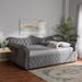 Baxton Studio Abbie Traditional and Transitional Grey Velvet Fabric Upholstered and Crystal Tufted Full Size Daybed - IEAbbie-Grey Velvet-Daybed-Full