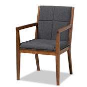 Baxton Studio Theresa Mid-Century Modern Dark Grey Fabric Upholstered and Walnut Brown Finished Wood Living Room Accent Chair Baxton Studio restaurant furniture, hotel furniture, commercial furniture, wholesale living room furniture, wholesale coffee table, classic coffee table