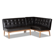 Baxton Studio Arvid Mid-Century Modern Dark Brown Faux Leather Upholstered 2-Piece Wood Dining Corner Sofa Bench