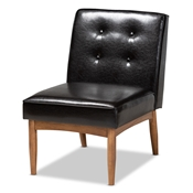 Baxton Studio Arvid Mid-Century Modern Dark Brown Faux Leather Upholstered Wood Dining Chair Baxton Studio restaurant furniture, hotel furniture, commercial furniture, wholesale living room furniture, wholesale coffee table, classic coffee table