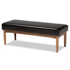 Baxton Studio Arvid Mid-Century Modern Dark Brown Faux Leather Upholstered Wood Dining Bench Baxton Studio restaurant furniture, hotel furniture, commercial furniture, wholesale bar furniture, wholesale dining bench, classic dining bench