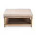 Baxton Studio Kelly Modern and Rustic Beige Linen Fabric Upholstered and Greywashed Wood Cocktail Ottoman - IEJY-0001-Beige/Greywashed-Otto
