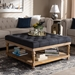 Baxton Studio Kelly Modern and Rustic Charcoal Linen Fabric Upholstered and Greywashed Wood Cocktail Ottoman - IEJY-0001-Charcoal/Greywashed-Otto
