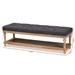 Baxton Studio Linda Modern and Rustic Charcoal Linen Fabric Upholstered and Greywashed Wood Storage Bench - IEJY-0003-Charcoal/Greywashed-Bench