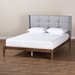 Baxton Studio Edmond Modern and Contemporary Grey Fabric Upholstered and Ash Walnut Brown Finished Wood Queen Size Platform Bed - IEMG0019-Grey/Ash Walnut-Queen