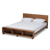 Baxton Studio Regina Modern Rustic Ash Walnut Brown Finished Wood King Size Platform Storage Bed with Built-In Shelves