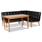 Baxton Studio Arvid Mid-Century Modern Dark Brown Faux Leather Upholstered 3-Piece Wood Dining Nook Set Baxton Studio restaurant furniture, hotel furniture, commercial furniture, wholesale bar furniture, wholesale dining sets, classic dining sets
