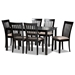Baxton Studio Minette Modern and Contemporary Sand Fabric Upholstered Espresso Brown Finished Wood 7-Piece Dining Set