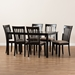 Baxton Studio Minette Modern and Contemporary Sand Fabric Upholstered Espresso Brown Finished Wood 7-Piece Dining Set - IERH319C-Sand/Dark Brown-7PC Dining Set