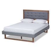 Baxton Studio Emele Modern Transitional Dark Grey Fabric Upholstered and Ash Walnut Brown Finished Wood King Size Platform Bed Baxton Studio restaurant furniture, hotel furniture, commercial furniture, wholesale bedroom furniture, wholesale king, classic king