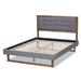 Baxton Studio Emele Modern Transitional Dark Grey Fabric Upholstered and Ash Walnut Brown Finished Wood King Size Platform Bed - IEEmele-Dark Grey/Ash Walnut-King