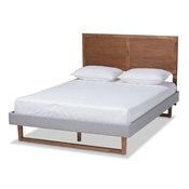 Baxton Studio Eloise Rustic Modern Light Grey Fabric Upholstered and Ash Walnut Brown Finished Wood King Size Platform Bed Baxton Studio restaurant furniture, hotel furniture, commercial furniture, wholesale bedroom furniture, wholesale king, classic king