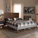 Baxton Studio Eloise Rustic Modern Light Grey Fabric Upholstered and Ash Walnut Brown Finished Wood King Size Platform Bed - IEEloise-Light Grey/Ash Walnut-King